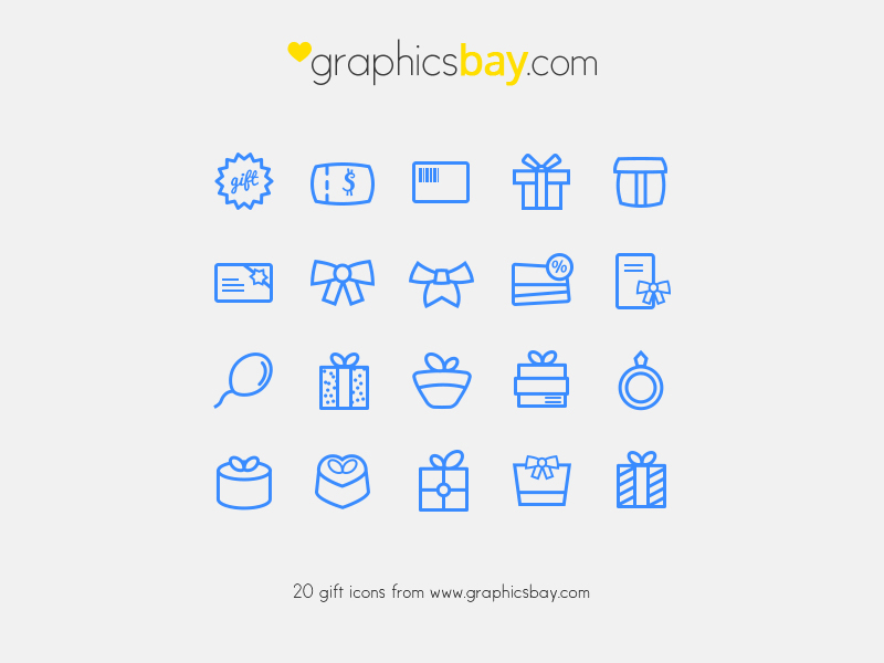 20 Gift Icons by Graphics Bay in 26 Free and Flat Icon Sets