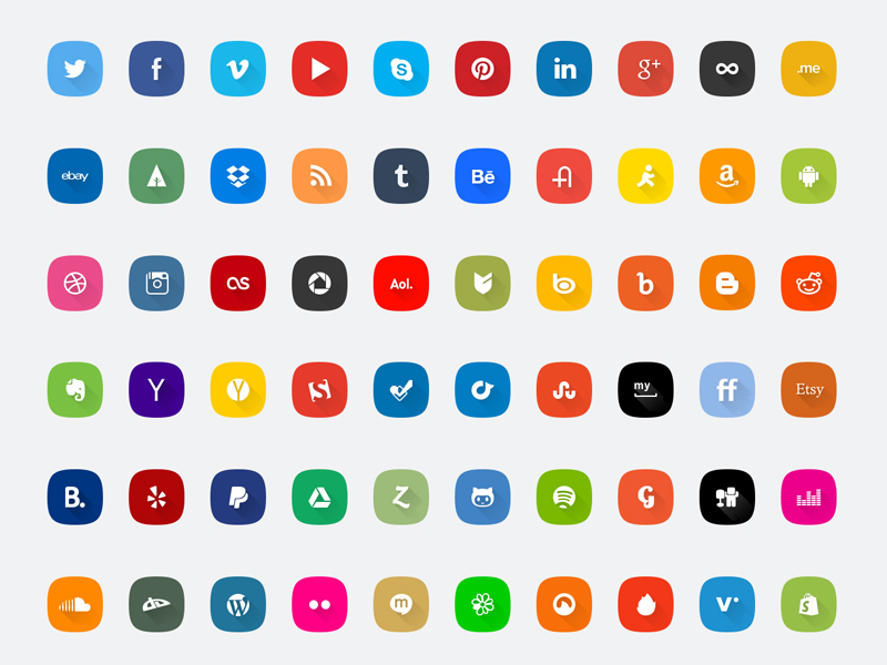 60 Social media icons set by Volkan Olmez in 26 Free and Flat Icon Sets