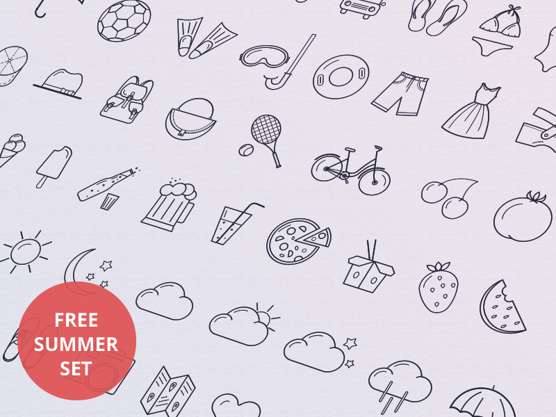 Summer icons by Tamara in 26 Free and Flat Icon Sets