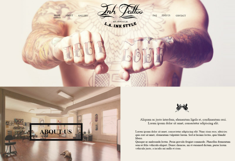 InkTattoo in 35 Free and Flat PSD Web Templates