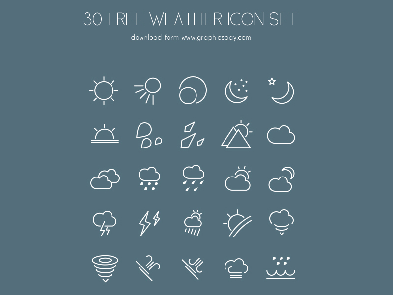 30 Free PSD Weather Icons by Graphics Bay in 26 Free and Flat Icon Sets