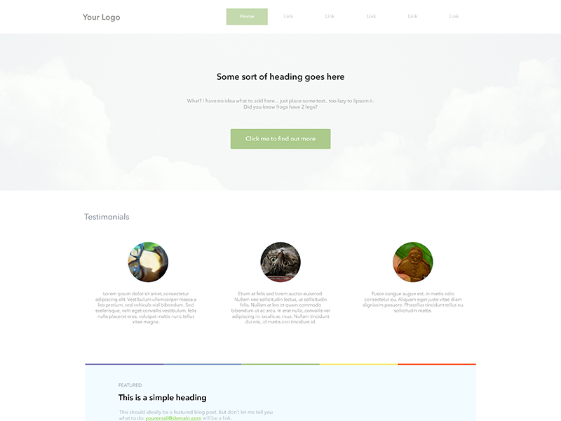 Super Simple Landing Page in 35 Free and Flat PSD Web Templates