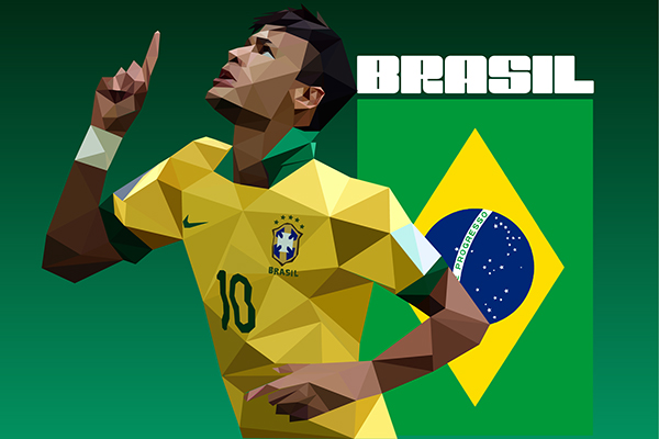 Neymar by Jared Wagner in World Cup 2014: Showcase of Creative Posters and Illustrations