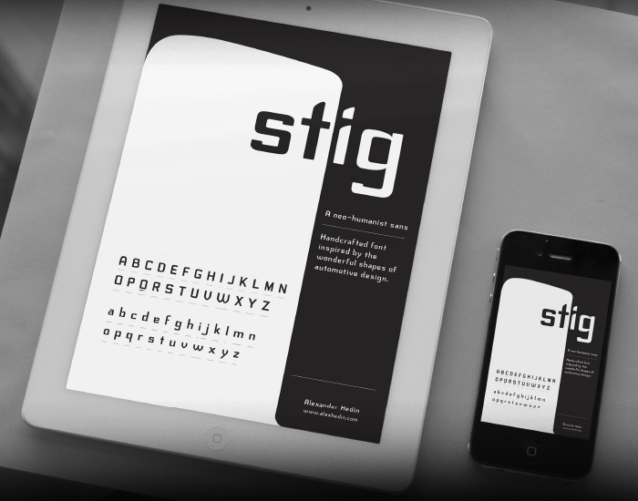 Stig Typeface by Alex Hedin in 27 Fresh and Free Fonts for June 2014