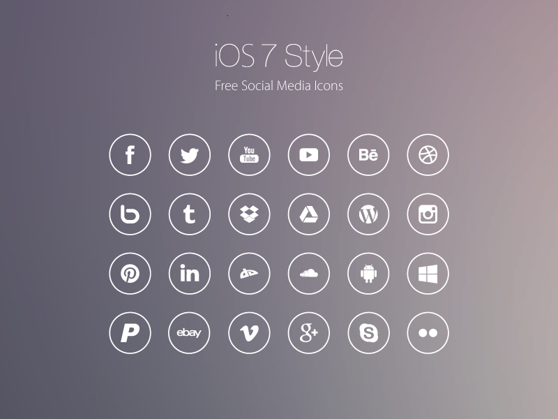 iOS7 Style Social Media Icons by Roberts Ozolins in 40 Free Icon Sets For June 2014