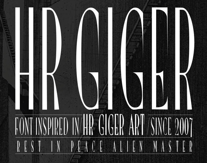 HR GIGER Type Free Font by JuanJo Rivas del Rio in 27 Fresh and Free Fonts for June 2014