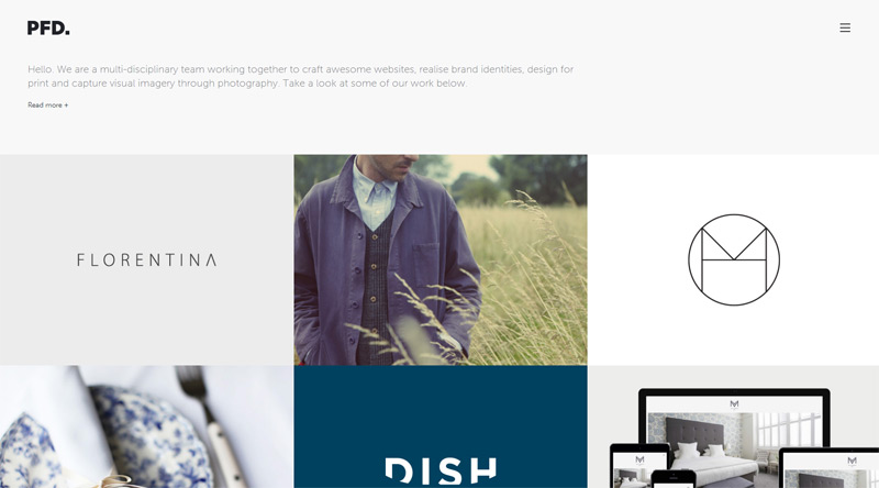 PFD in 33 New Websites with Clean and Minimalist Design
