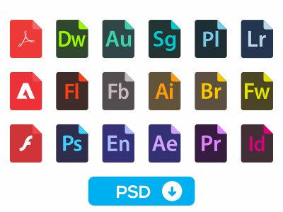 Adobe File Type Icons by Matej Dumančić in 26 Free and Flat Icon Sets