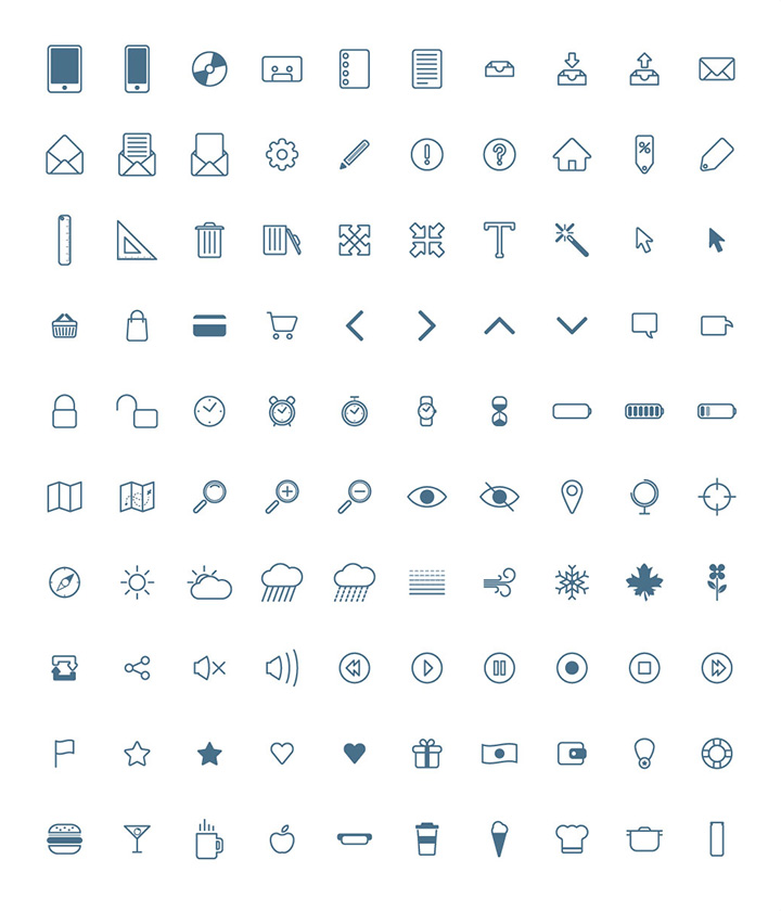 100 free icons PSD + AI + Webfont by Piotr Makarewicz in 26 Free and Flat Icon Sets