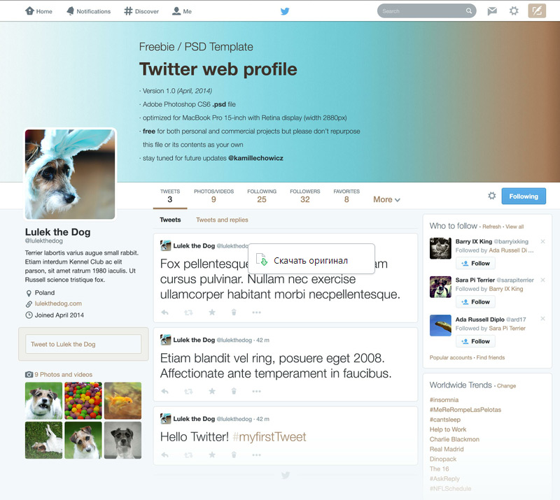 Twitter Web Profile Template in 35 Free and Flat PSD Web Templates
