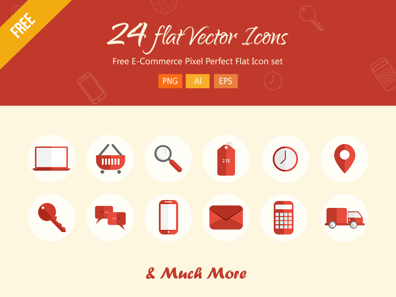 24 Flat Vector Icons by Creiden in 26 Free and Flat Icon Sets
