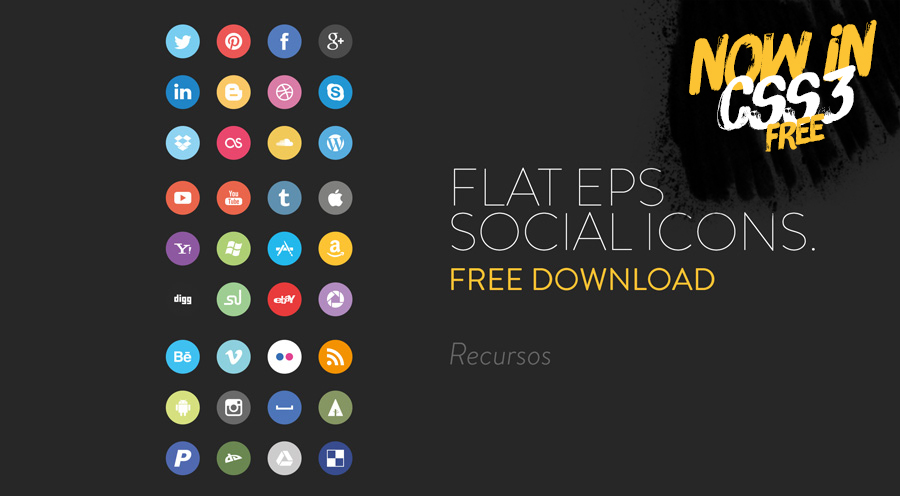 Flat Social Icons by Jorge Calvo in 40 Free Icon Sets For June 2014