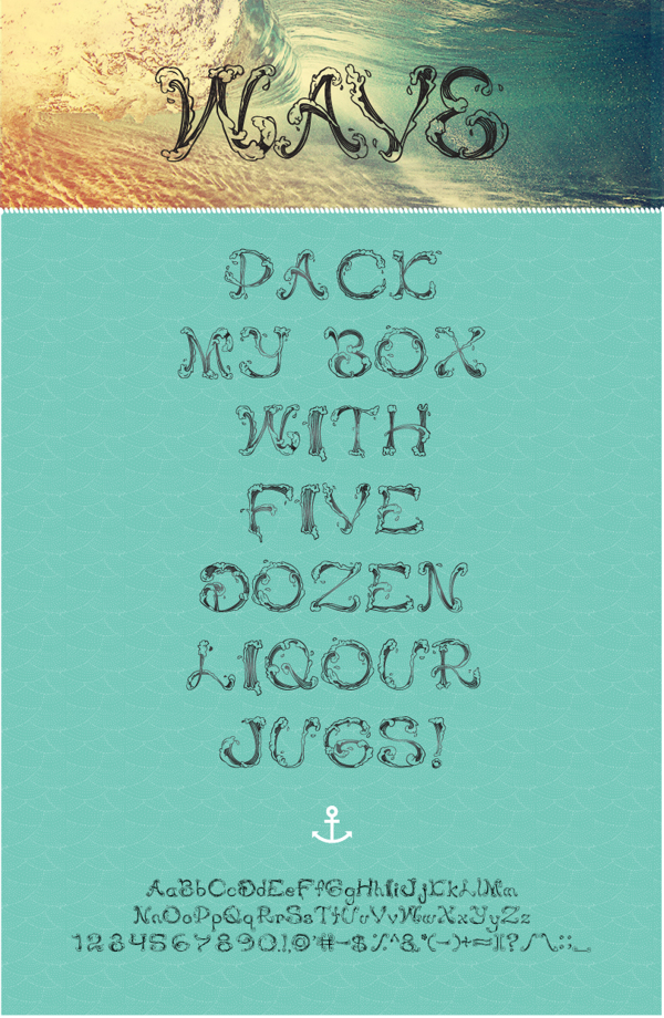 Wave Free Font by Jennifer Delaney in 27 Fresh and Free Fonts for June 2014