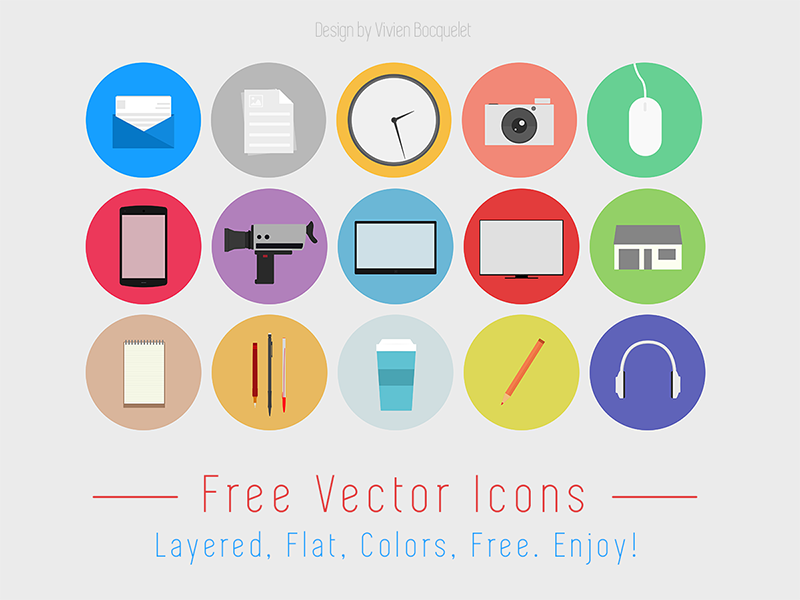 Flat Design free icon set by Vivien Bocquelet in 40 Free Icon Sets For June 2014