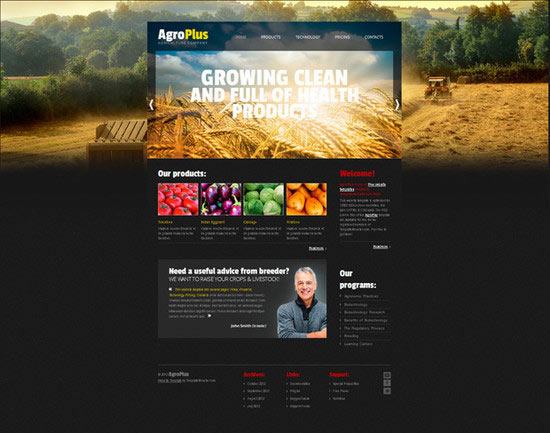 Free Website Template with jQuery Slider for Agriculture Business