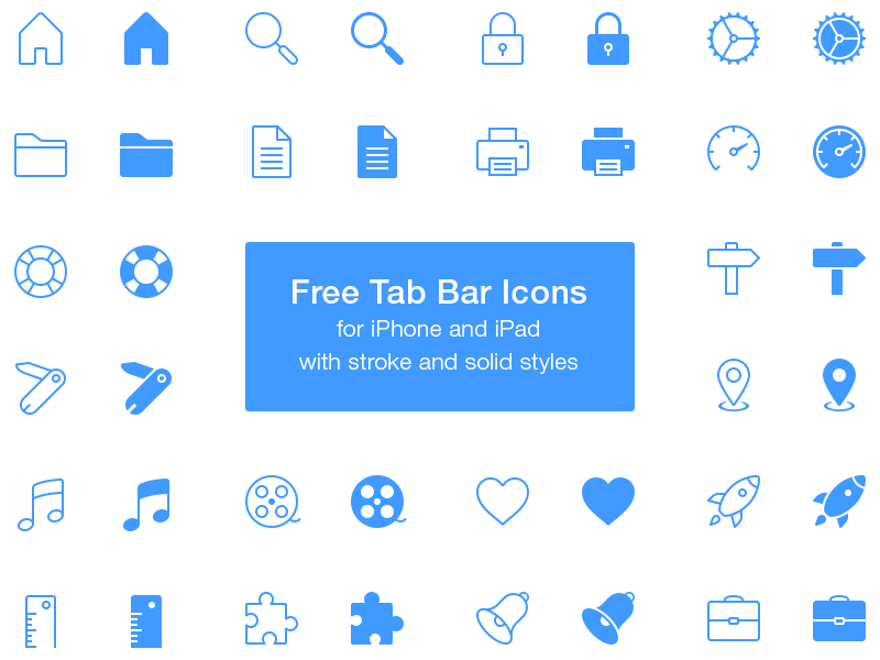 Free Tab Bar Icons by Rami McMin in 26 Free and Flat Icon Sets
