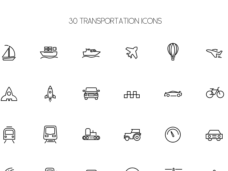 30 Transport Icons by Graphics Bay Team in 38 Fresh and Modern Icon Sets