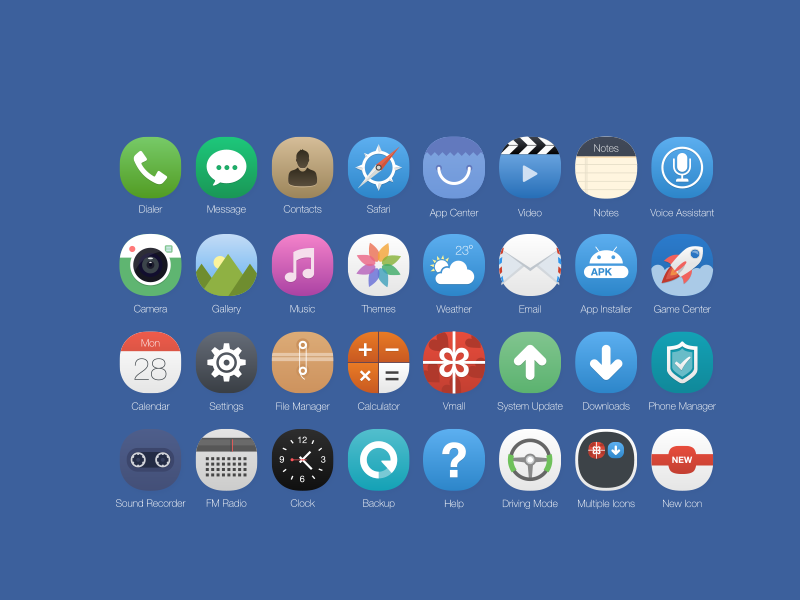iOS 8 Icons Concept by Zee Que in 38 Fresh and Modern Icon Sets