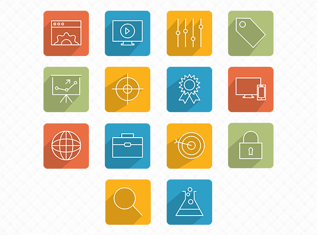 28 Flat and Slim SEO Icons by Ferman Aziz in 38 Fresh and Modern Icon Sets