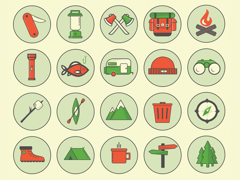 Camping Outdoor Icons by Jason Kendall in 38 Fresh and Modern Icon Sets