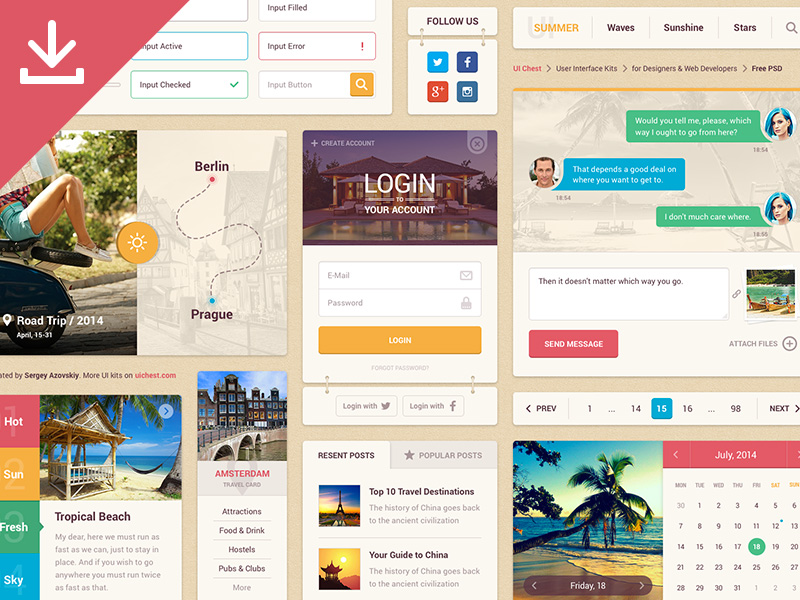 Summer Ui Kit by Sergey Azovskiy in 30+ Free UI Kits for Web Designers