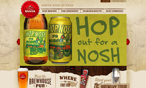 - Uinta Brewing Website with Map Texture on the Background