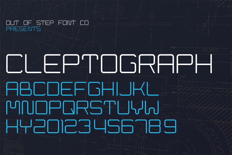 Cleptograph by Out Of Step Font Company in 25 Fresh and Free Fonts for July 2014