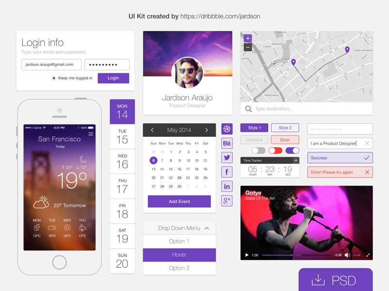 Flat UI kit by Jardson A. in 30+ Free UI Kits for Web Designers