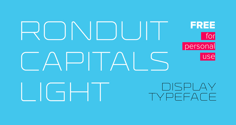 Ronduit Capitals Light Free Font by Ivan Filipov in 20套2014年7月最新鲜又免费的字体下载