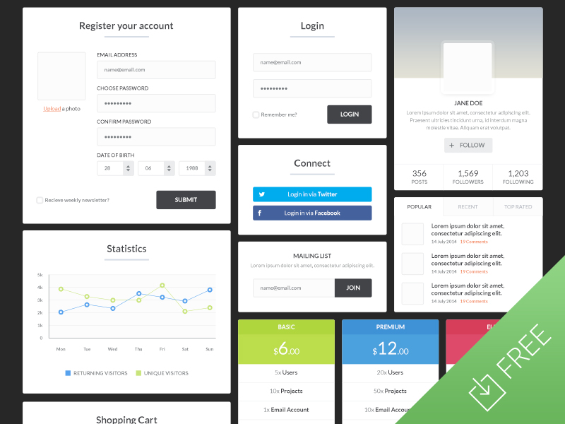 Blocky UI Kit by Medialoot in 30+ Free UI Kits for Web Designers