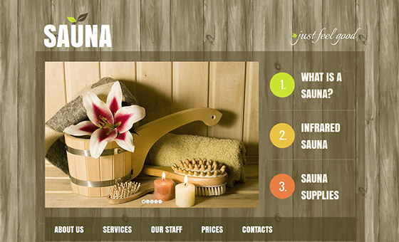 - Sauna Website Design with Wood Texture