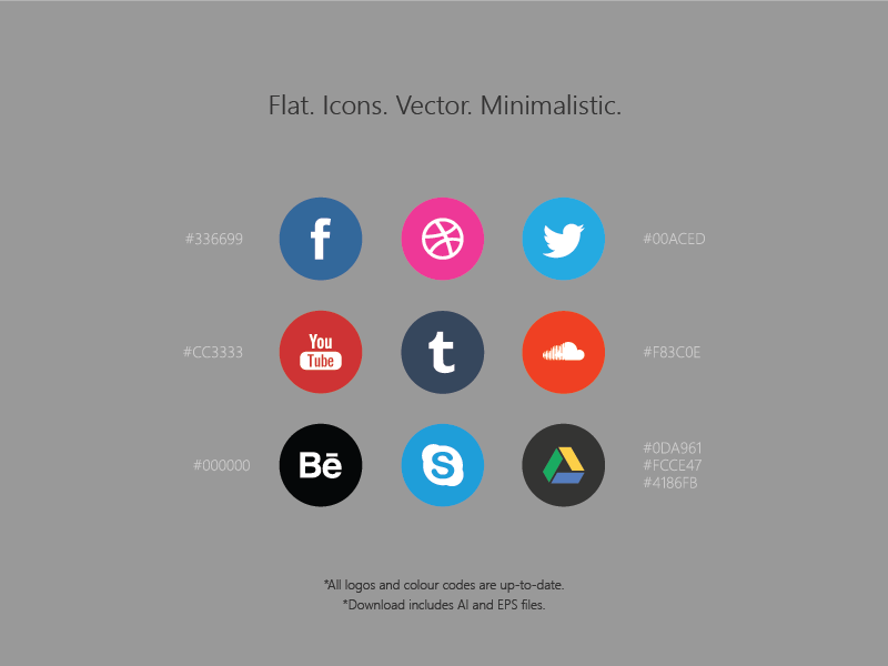 Free Social Media Icons / AI+EPS by Roberts Ozolins in 38 Fresh and Modern Icon Sets