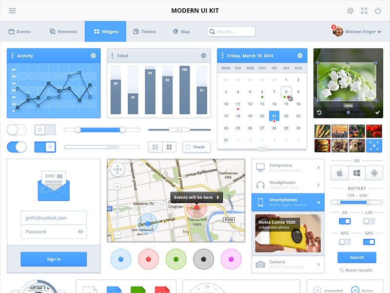 Modern UI Kit by Ray Cheung in 30+ Free UI Kits for Web Designers