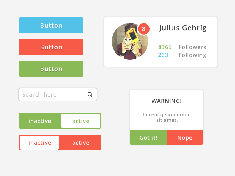 Colorful flat UI Elements by Julius Gehrig in 30+ Free UI Kits for Web Designers