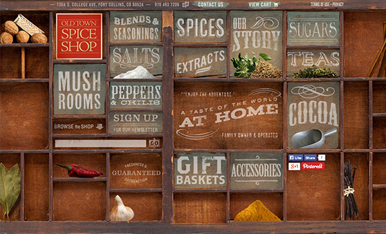 - Spice Shop Website with Creative Wood Shelf Texture