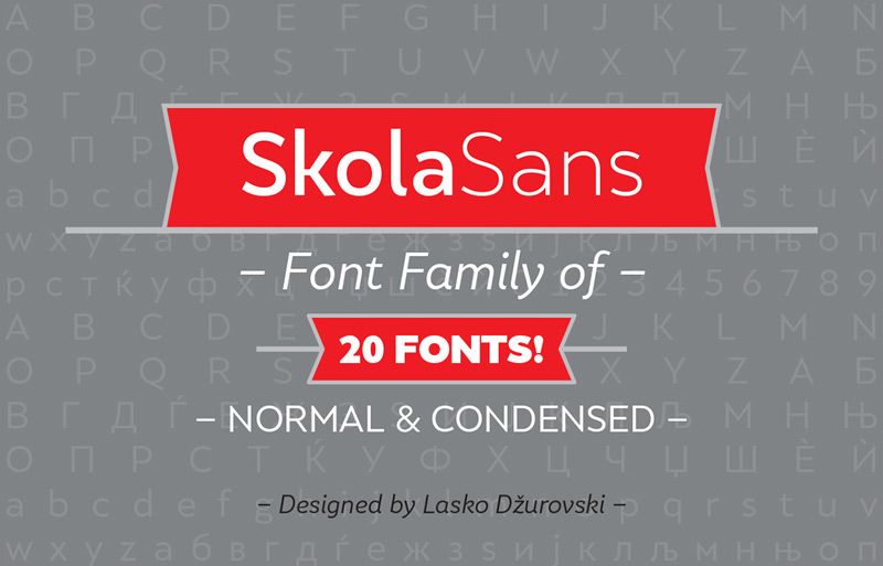 SkolaSans Free Font Family by Lasko Dzurovski in 25 Fresh and Free Fonts for July 2014