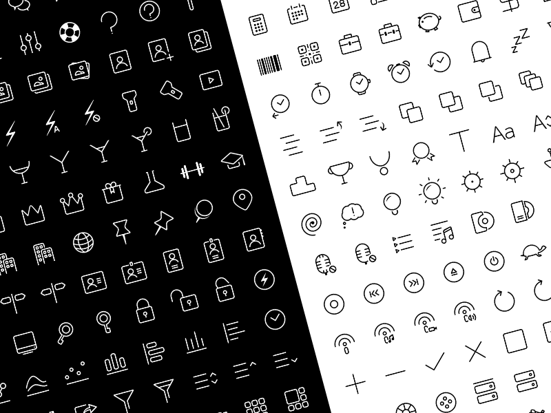 Clear Icons - Thin by Rakesh in 38 Fresh and Modern Icon Sets