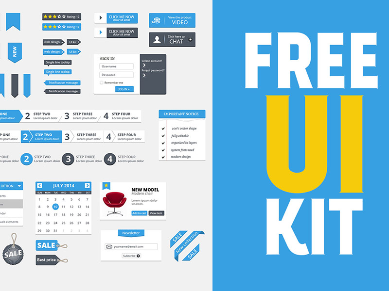 Free Clean UI Kit by Deal Jumbo in 30+ Free UI Kits for Web Designers