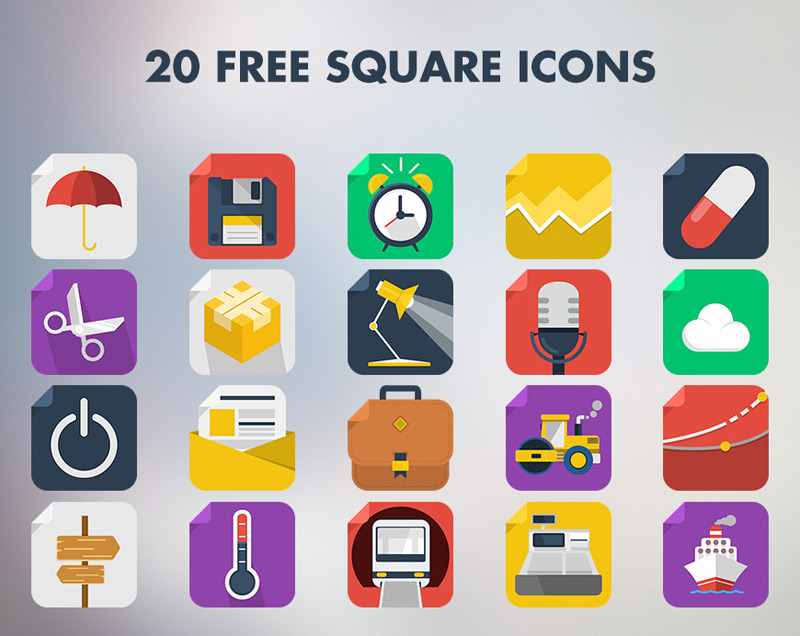 20 Square Icons by Pix3lize in 38 Fresh and Modern Icon Sets