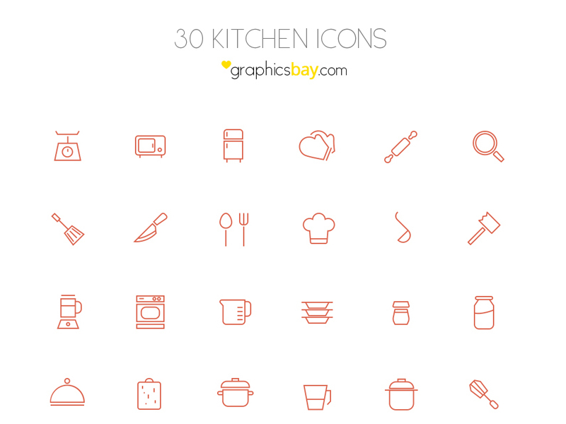 30 kitchen icons in AI and PSD by Graphics Bay Team in 38 Fresh and Modern Icon Sets