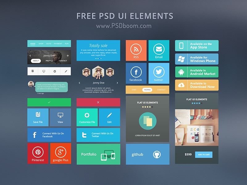 Free Psd Ui Elements Psdboom by Al Rayhan in 30+ Free UI Kits for Web Designers