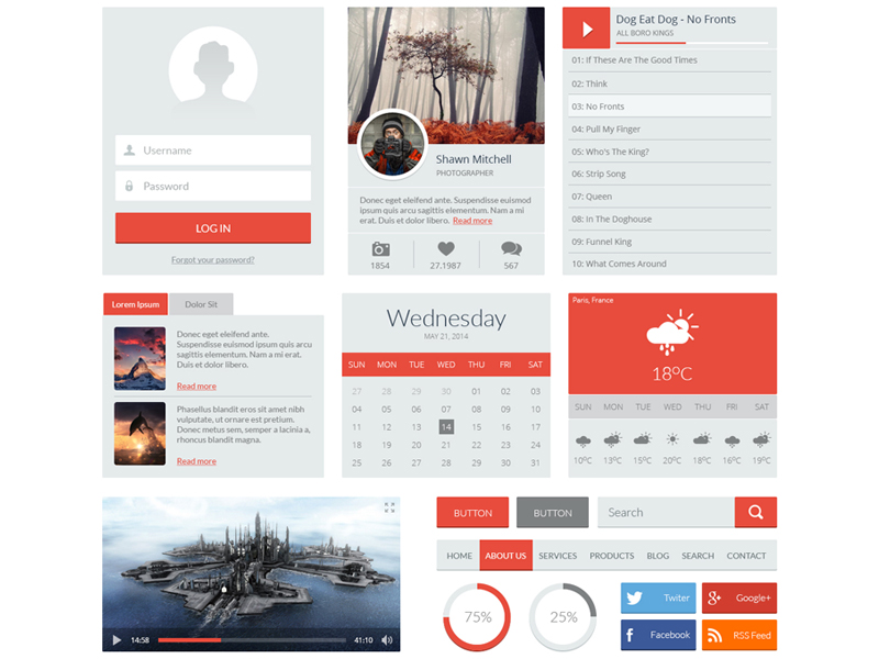 Red UI Kit by Yane Naumoski in 30+ Free UI Kits for Web Designers