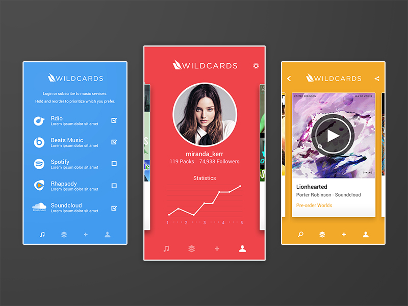 Audio Card iOS App by Blake Gentry in 36个移动APP界面设计灵感欣赏(IOS8风格)
