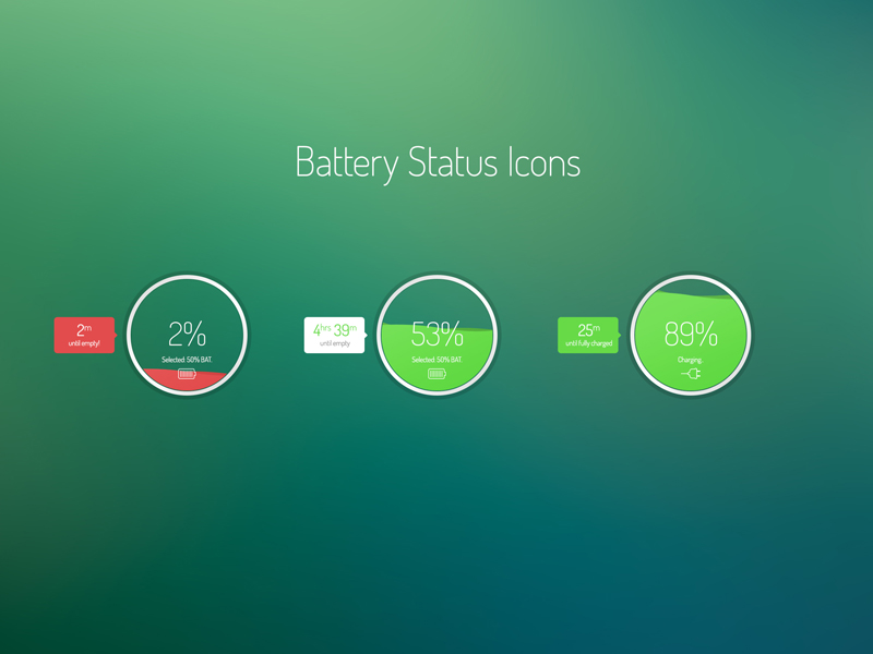 Battery Status Icons by Fuxxo Works in 50个精彩的8月出炉的免费设计资源
