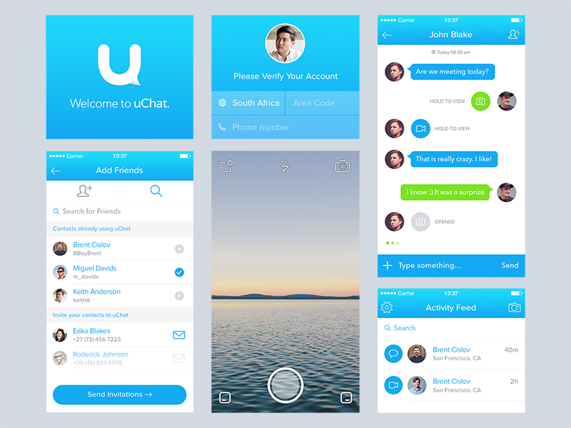 uChat Elements by Daniel Klopper in 36个移动APP界面设计灵感欣赏(IOS8风格)