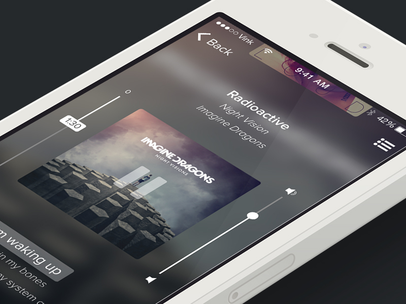 Vertical player by Vincenzo Petito in 36个移动APP界面设计灵感欣赏(IOS8风格)