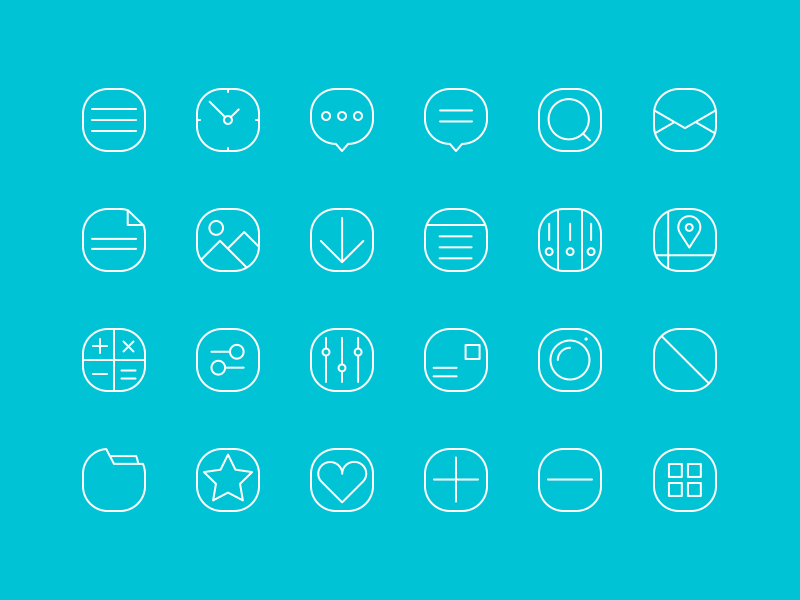 20+ Simple Line Icons by Given in 30个给网页设计师准备的扁平化图标套装免费下载