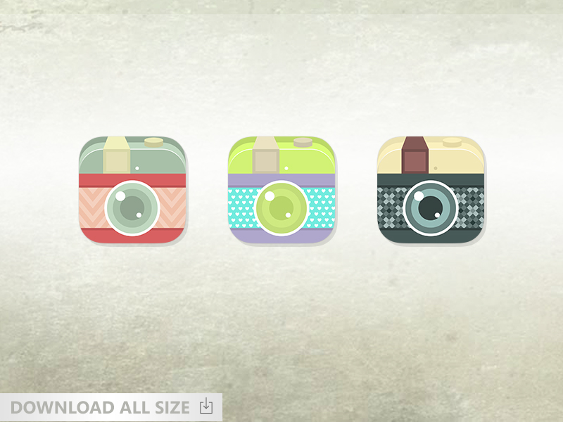 Vintage Flat Camera Icon For Ios by ChiragSolanki in 50个精彩的8月出炉的免费设计资源