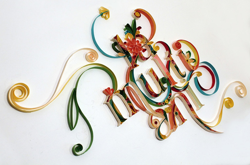 Quilling typography project by Anca Designs in  60个很棒的手工制作的字体设计欣赏