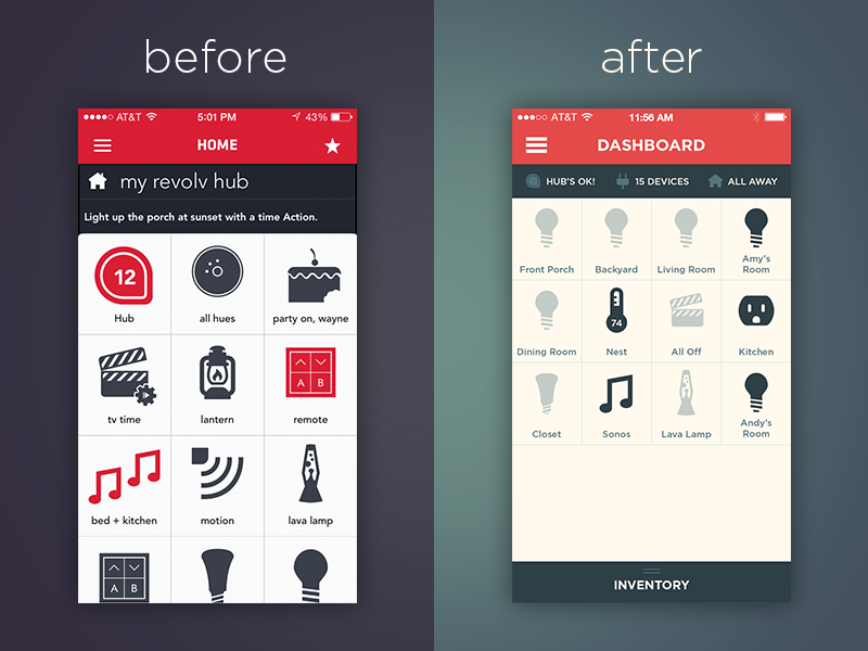 Revolv 2.0 - Before and After by Alberto Vildosola in 36个移动APP界面设计灵感欣赏(IOS8风格)